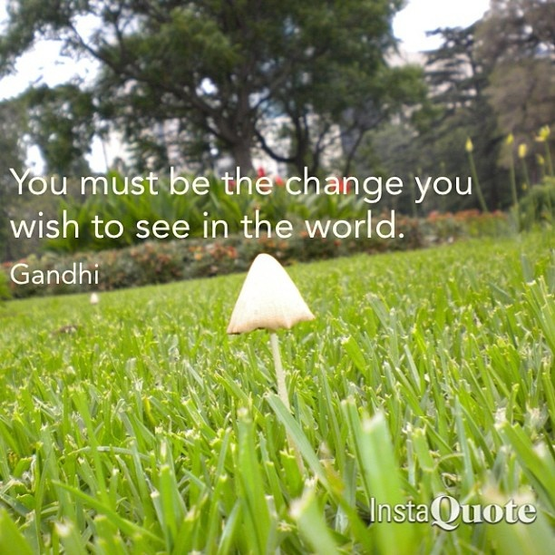You must be the change you wish to see in the world - Gandhi